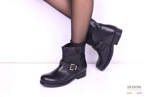 Biker nero con fascia di borchiette </br> D996 Scarpe donna