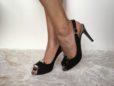 Slingback nero con piastra </br> D912 Scarpe donna