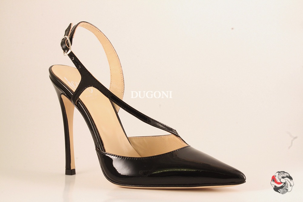 Slingback in vernice nera </br> D163 Outlet