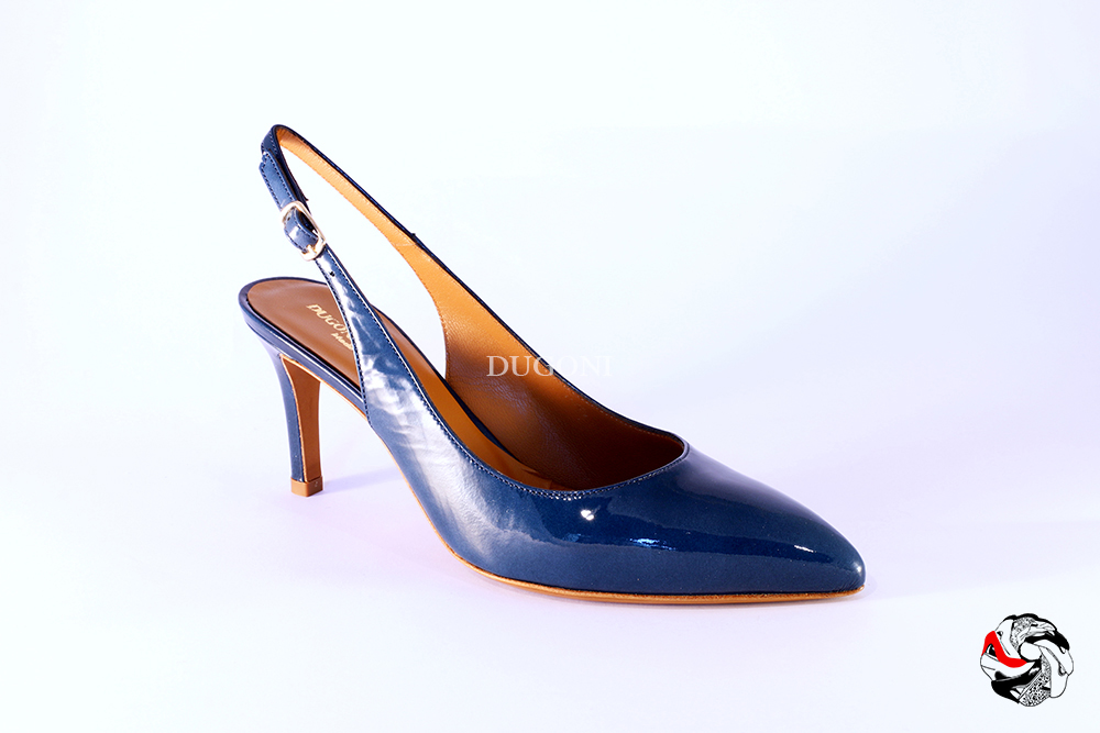 Slingback in vernice blue jeans </br> D837 Outlet