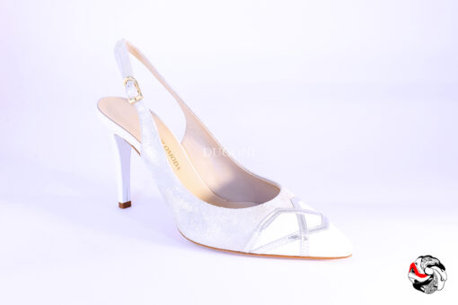 Slingback bianco&argento </br> D868 Outlet