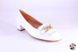 Mocassino bianco con catena </br> D860 Ballerine