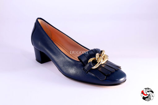 Mocassino blu con catena </br> D861 Scarpe donna