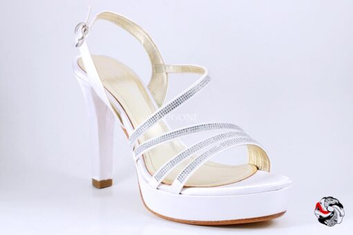 Sandalo strass in raso bianco </br> S039 Outlet