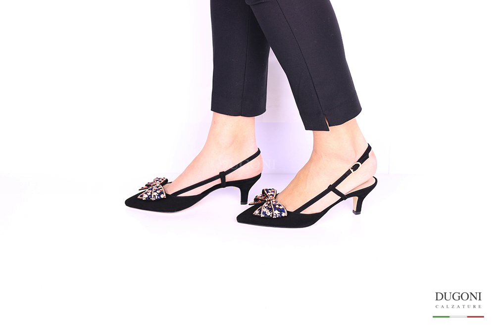 Slingback nero con fiocco </br> D1005 Outlet