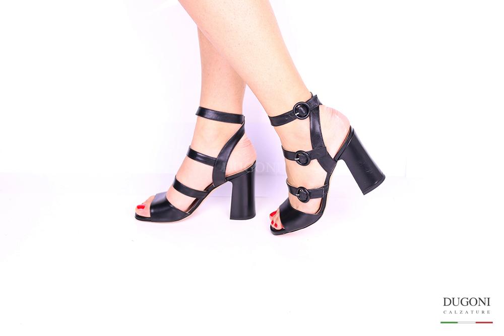 Sandalo nero tre cinturini D1019 Scarpe donna