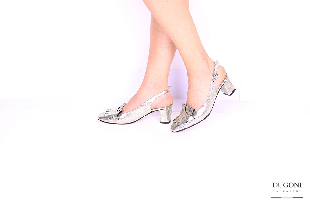 Slingback con frangia platino </br> D1032 Outlet