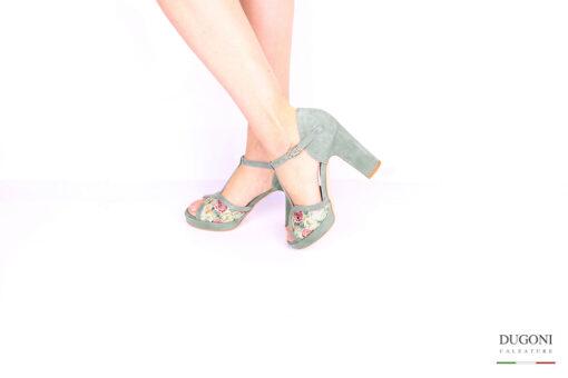 Sandalo salvia fantasia </br> D1038 Scarpe donna