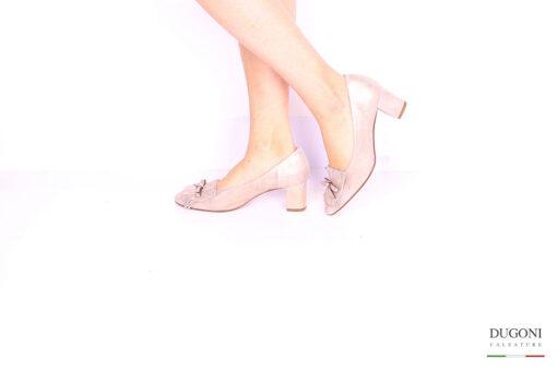 Mocassino laminato rosa </br> D1053 Scarpe donna