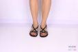 Sandalo multicinturino nero </br> D1076 Scarpe donna