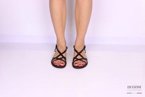 Sandalo multicinturino marrone </br> D1077 Scarpe donna