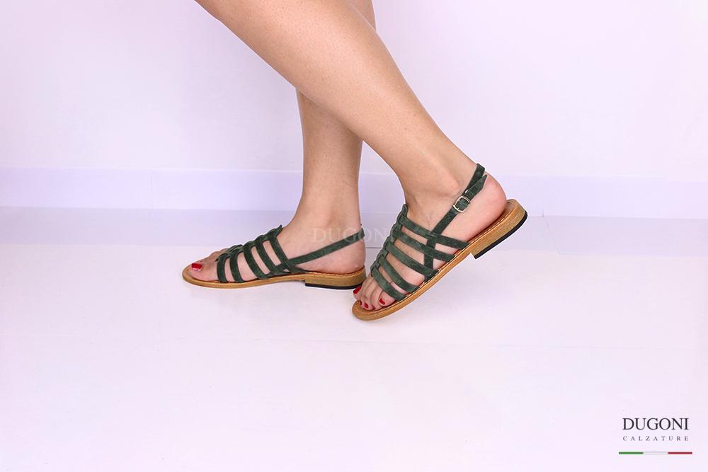 Sandalo gladiatore verde </br> D1063 Scarpe donna