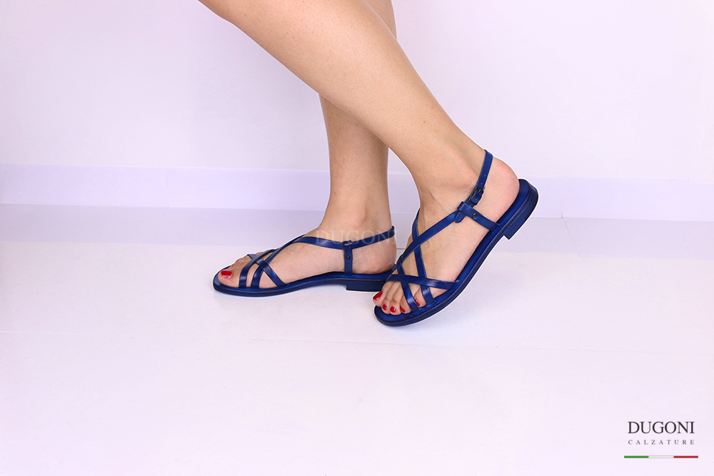 Sandalo multicinturino blu </br> D1074 Scarpe donna