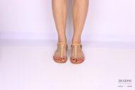 Sandalo infradito minimal beige con perle </br> D1079 Scarpe donna