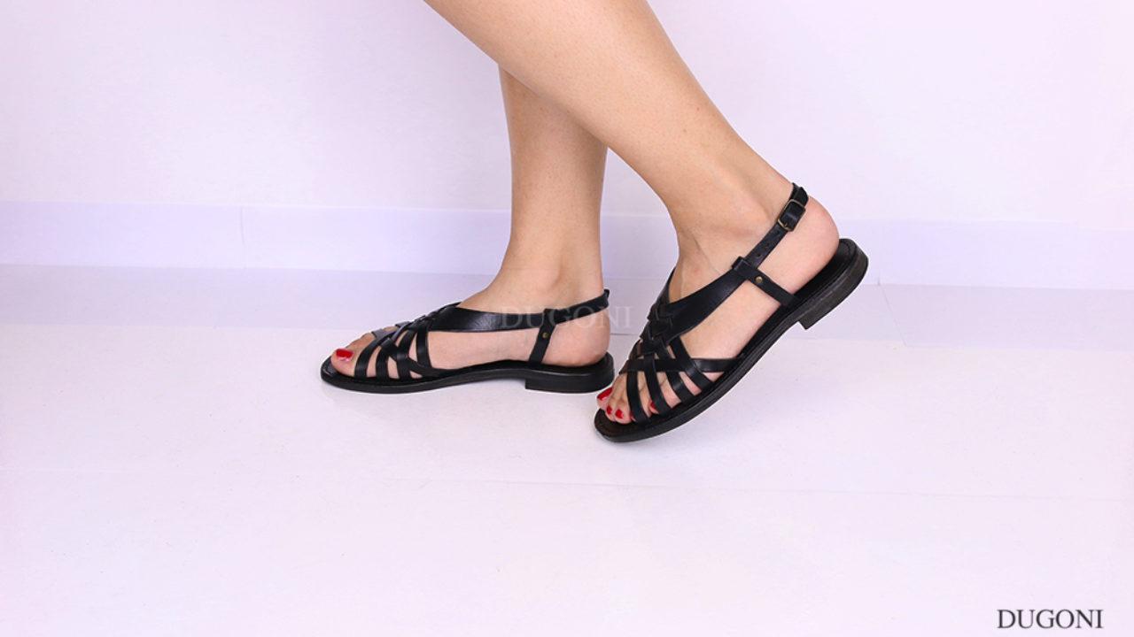 Sandalo multicinturino a gabbietta nero D1084