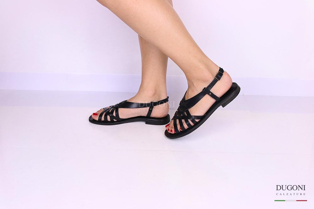 Sandalo multicinturino a gabbietta nero </br> D1084 Scarpe donna