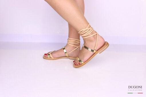 Sandalo infradito con dettagli oro alla schiava </br> D1071 Scarpe donna