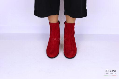 Stivaletto in camoscio rosso </br> D1093 Scarpe donna