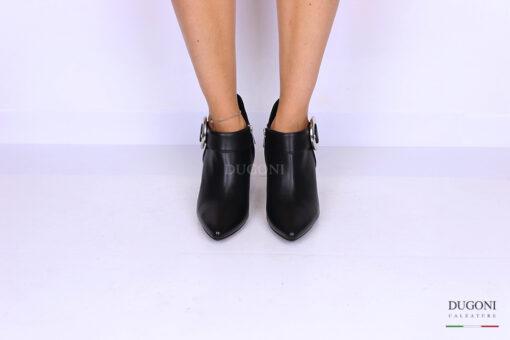 Tronchetto in pelle nera con fibbia </br> D1089 Scarpe donna