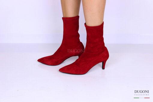 Tronchetto calza camoscio rosso </br> D1098 Scarpe donna