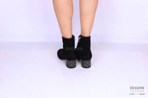 Tronchetto camoscio nero con strass </br> D1133 Scarpe donna