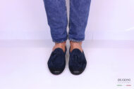 Mocassino camoscio blu con nappine </br> U272 Outlet