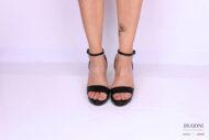 Sandalo minimal pelle nera </br> D1174 Scarpe donna