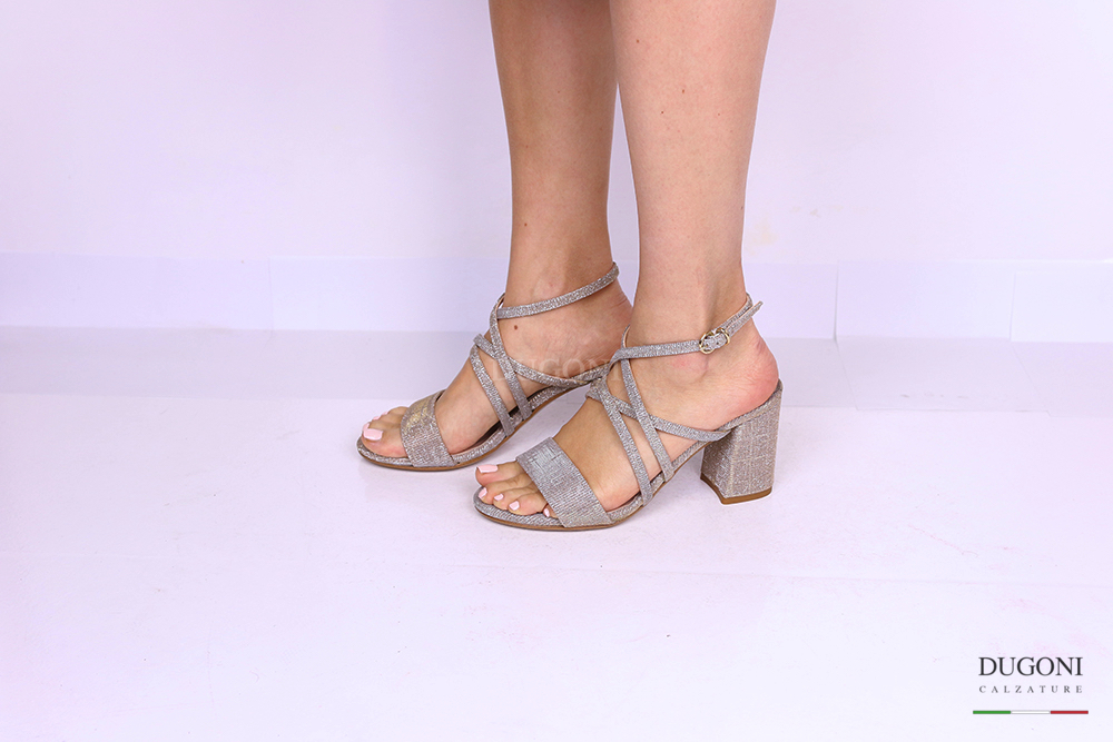 Sandalo galassia platino tacco grosso </br> D1182 Scarpe donna