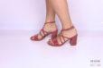 Sandalo galassia rosso tacco grosso </br> D1183 Scarpe donna