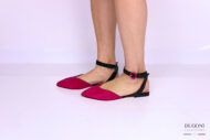 Slingback in camoscio fucsia </br> D1161 Outlet