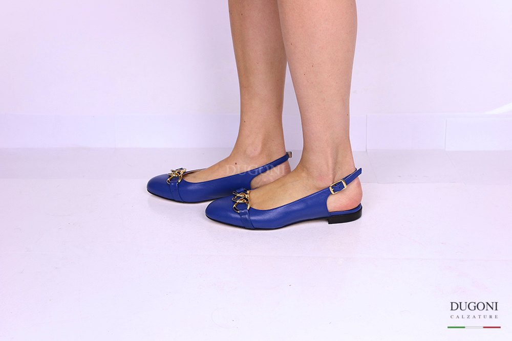 Slingback bluette con catena </br> D1158 Outlet