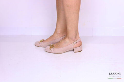 Slingback in camoscio rosa con catena </br> D1159 Outlet