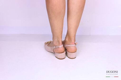 Slingback in camoscio rosa con catena </br> D1159 Scarpe donna