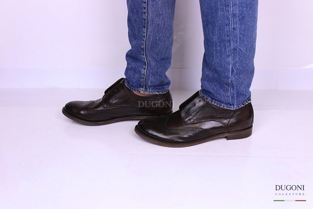 Slip on con lavorazione inglese pelle marrone </br> U289 Outlet