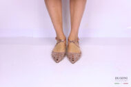 Ballerina camoscio nude con borchie </br> D1162 Outlet