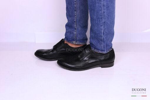 Slip on con lavorazione inglese pelle nera </br> U288 Calzature uomo