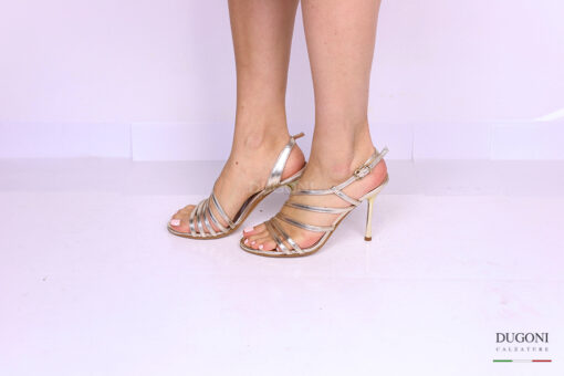 Sandalo mignon multicinturino platino </br> D1187 Outlet