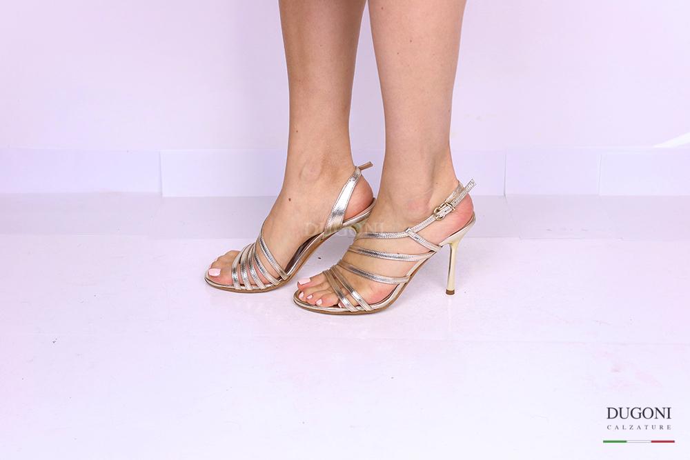 Sandalo mignon multicinturino platino </br> D1187 Scarpe donna