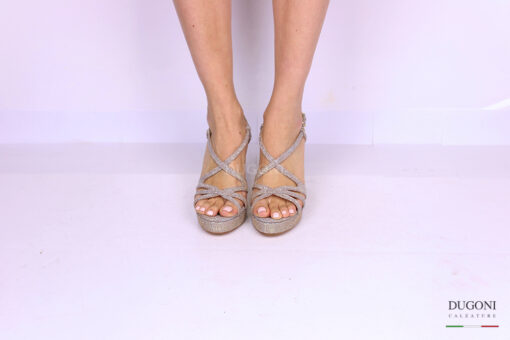 Sandalo galassia platino </br> D1180 Scarpe donna