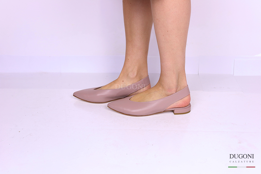 Slingback flat in pelle nude </br> D1150 Outlet