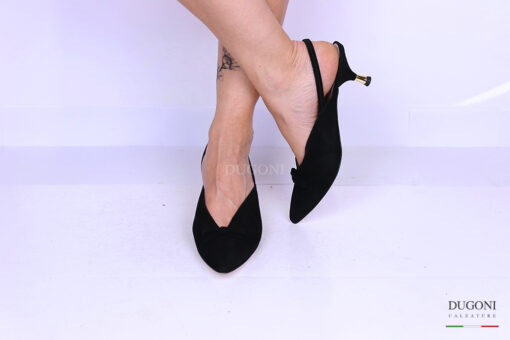 Slingback in camoscio nero </br> D1194 Outlet