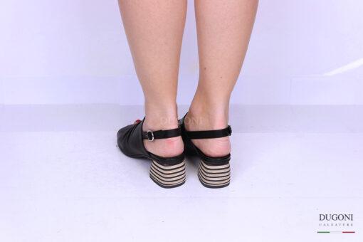Sandalo accollato nero </br> D1190 Sandali con tacco