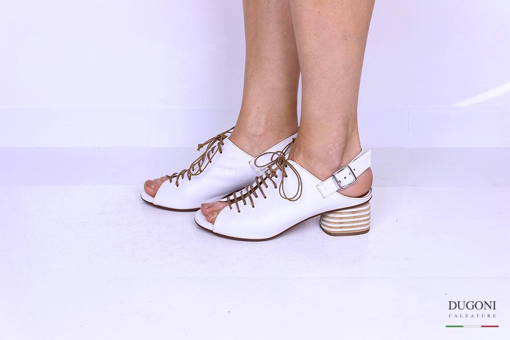 Sandalo accollato con lacci bianco </br> D1191 Outlet