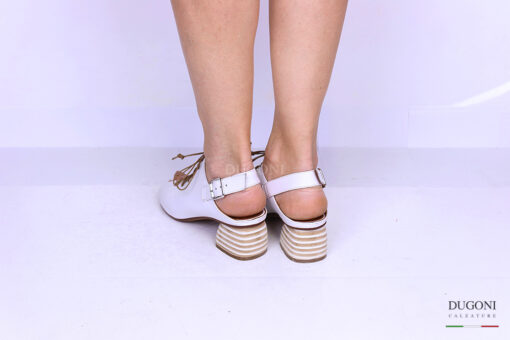 Sandalo accollato con lacci bianco </br> D1191 Slingback