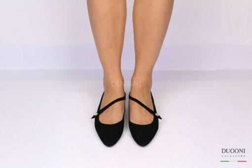 Ballerina nera con cinturino diagonale </br> D1219 Outlet