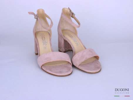 Sandalo tallone chiuso camoscio rosa </br> D1244 Scarpe donna