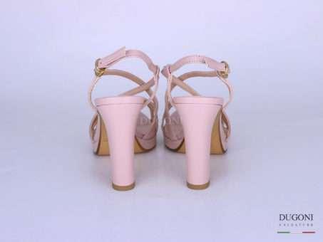 Sandalo cinturini pelle rosa nude </br> D1286 Scarpe donna