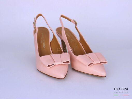 Slingback pelle rosa con fiocco piatto </br> D1278 Outlet