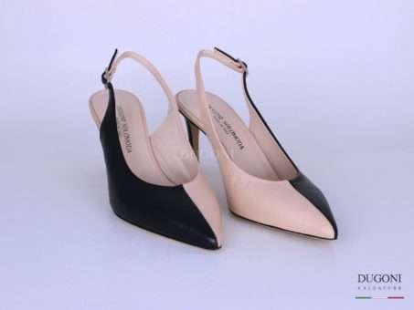 Slingback bicolor nero e beige </br> D1276 Scarpe donna