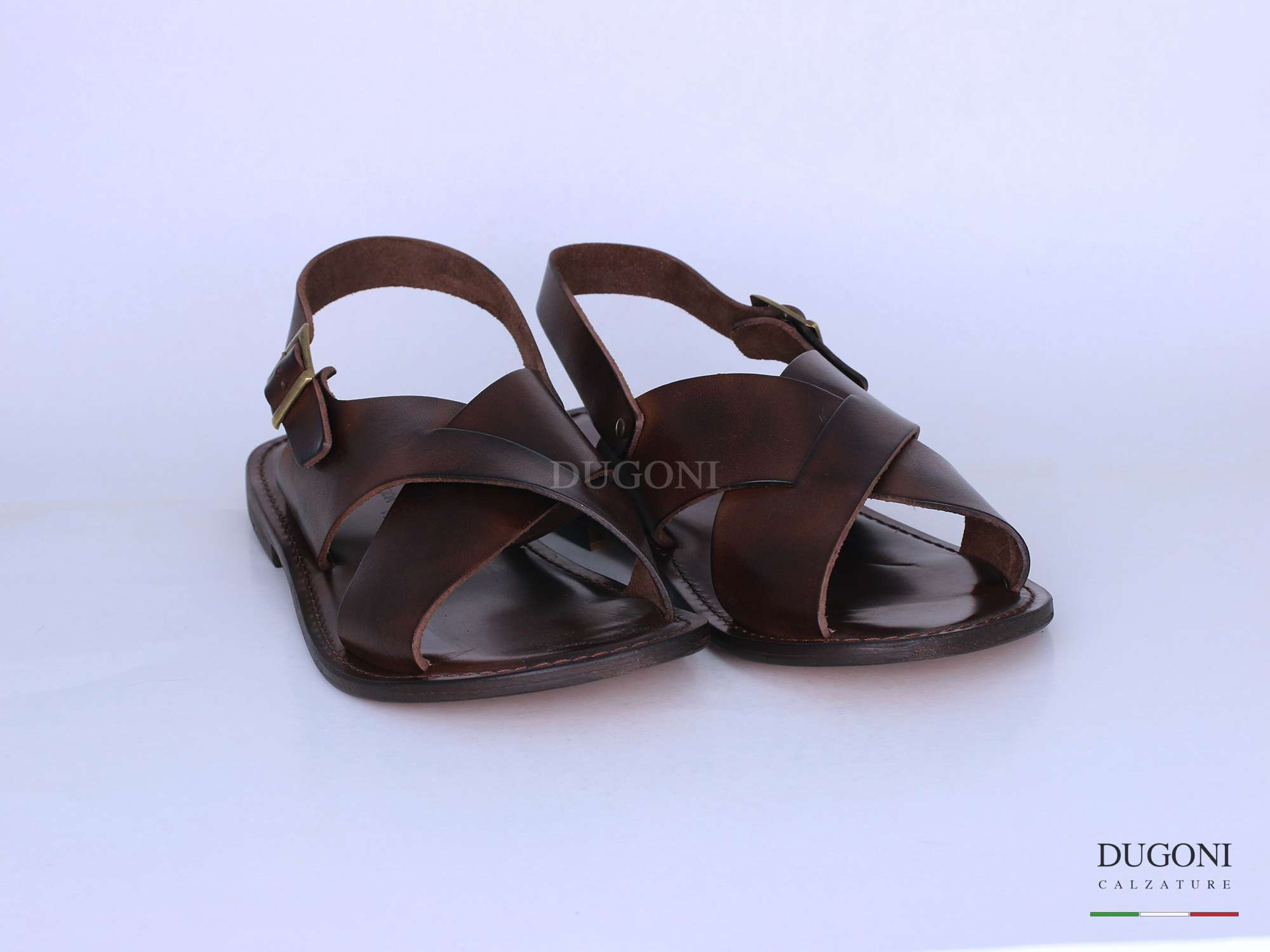 Sandalo in cuoio marrone </br> U309 Calzature uomo